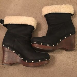 Ugg Black Leather with Wooden Heel Bootie